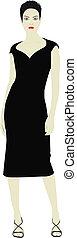 modelo, en, vestido negro