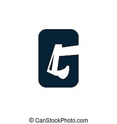 modelo, escavador, espaço, negativo, g, letra, logotipo, ícone
