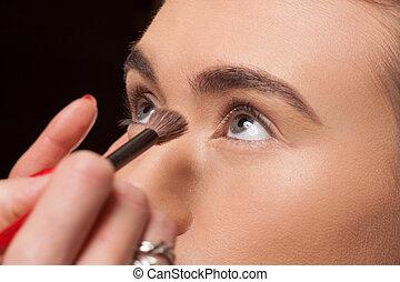 modelo, esteticista, ser aplicable, joven, cosméticos