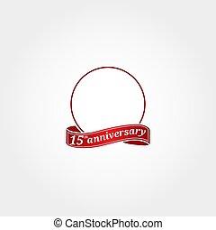 modelo, etiquetado, year., número, 15, aniversário, círculo, aquilo, anniversary., décimo quinto, logotipo, 1ö