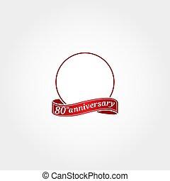 modelo, etiquetado, year., número, oitenta, aniversário, círculo, aquilo, anniversary., 80, 80th, logotipo