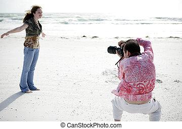 modelo, fotógrafo, trabaja