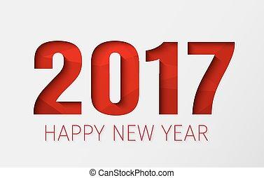 modelo, fundo, ano, novo, branca, 2017, feliz