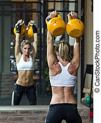modelo, ginásio, condicão física