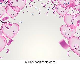 modelo, heart., forma, valentine, ilustração, ar, realístico, vetorial, confetti, balões, dia, serpentina