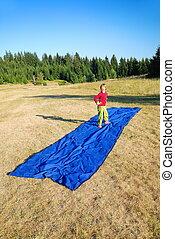 modelo, imitación, en, azul, alfombra