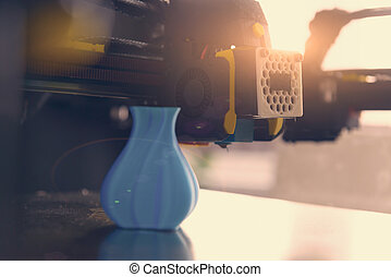 modelo, impresora, moderno, 3d