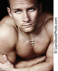 modelo, jovem, macho, amaying, corporal