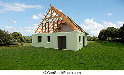 modelo, local construção, arquitetura