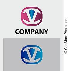 modelo, logotipo, ícone, letra, desenho, v