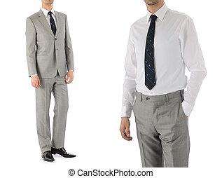 modelo, macho, aislado, blanco, traje