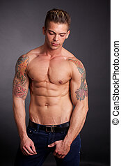 modelo, macho, muscular