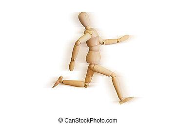modelo madeira, corrida, rapidamente
