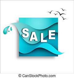 modelo, mar, venda, ilustração, papel, desenho, fundo, bandeira, waves.
