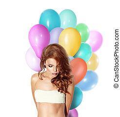 modelo, menina, com, coloridos, balloons.