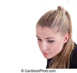 modelo, menina, com, longo, saudável, cabelo