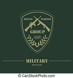 modelo, militar, logotipo, emblemas, gráfico