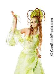 modelo moda, arte, penteado, e, maquilagem, mulher aponta, em, vestido verde