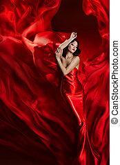 modelo moda, arte, vestido, dançar mulher, em, vermelho, waving, tecido, bonito, menina, ligado, artisticos, pano, fundo