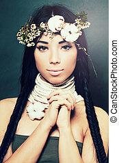 modelo moda, com, elegante, penteado, e, flores