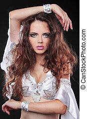 modelo moda, com, saudável, longo, cabelo ondulado