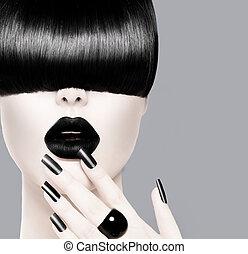 modelo moda, com, trendy, penteado, pretas, lábios, e, manicure