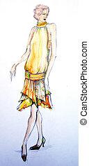 modelo, moda, desenho