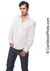 modelo, moda, macho, isolado, branca