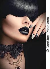 modelo moda, menina, com, pretas, gótico, penteado, maquilagem, manicure, e, acessórios