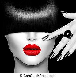 modelo moda, menina, com, trendy, penteado, maquilagem, e, manicure
