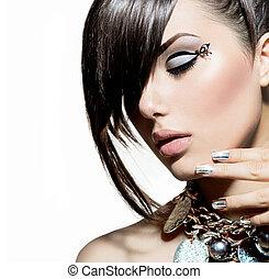 modelo moda, menina, portrait., trendy, estilo cabelo