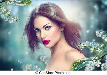 modelo moda, menina, retrato, com, longo, soprando, cabelo