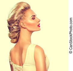 modelo moda, menina, retrato, com, updo, penteado