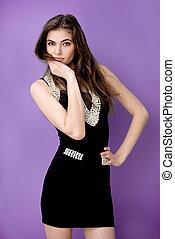 modelo, Moda, mujer
