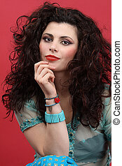 modelo moda, -, mulher bonita, com, longo, cabelo ondulado