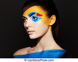 modelo moda, mulher, com, colorido, rosto, pintado
