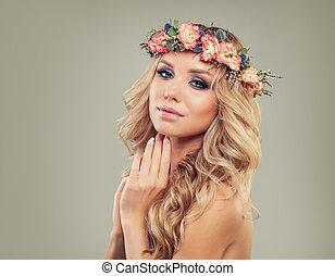 modelo moda, mulher, com, flowers., verão, beleza
