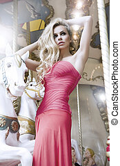 modelo, moda, posar, carrossel, beleza