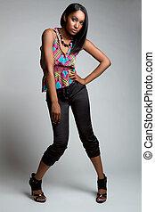 modelo, moda, pretas