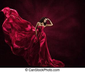 modelo moda, vestido, mulher, em, voando, vestido, tecido de seda, waving, ligado, vento, cetim, pano, fluir, ondas