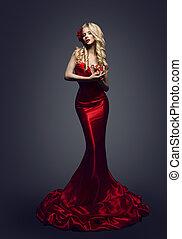 modelo moda, vestido vermelho, elegante, mulher, elegante, beleza, vestido, menina, posar, slinky, roupas