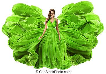 modelo moda, waving, vestido, como, asas, mulher, em, verde, vestido, fowing, tecido, menina, em, voando, pano, isolado, sobre, branca