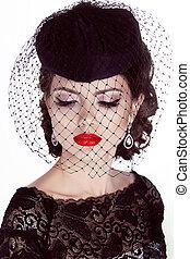 modelo, moda, woman., isolado, makeup., experiência., portrait., retro, menina, branca