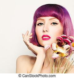 modelo, mujer, con, colorido, pelo, y, flores