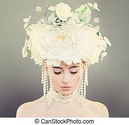 modelo, mujer, con, maquillaje, y, flores