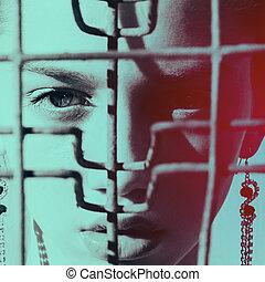 modelo, mujer, en, prisión, retrato