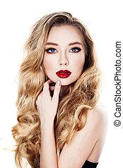 modelo, mulher, isolado, cabelos formam, loiro, branca