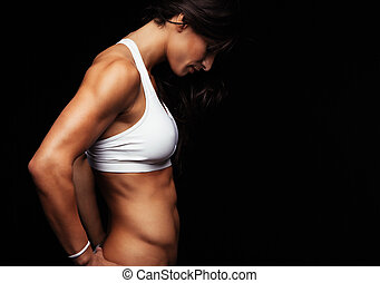 modelo, muscular, femininas, condicão física