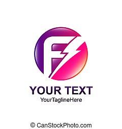 modelo, negócio, f, companhia, inicial, colorfull, desenho, letra, logotipo, círculo, identidade, elétrico