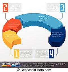 modelo, negócio, infographic, com, seta, 3d, desenho